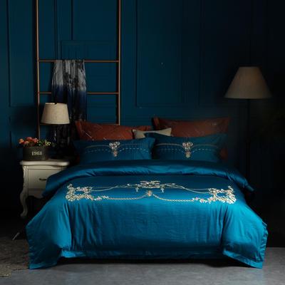 80S匹马长绒棉重工绣花四件套 1.8m(6英尺)床 仲夏夜之梦 海盐蓝