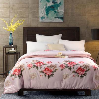 超奢华织锦绸天然蚕丝冬被 200X230cm(6斤) 花溢满园 粉