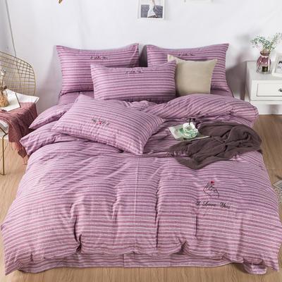 色织加厚柔光棉英伦绣花四件套 1.5m(5英尺)床 粉紫