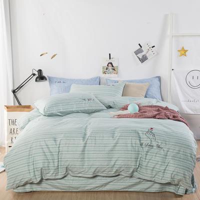 色织加厚柔光棉英伦绣花四件套 1.8m(6英尺)床 淡绿