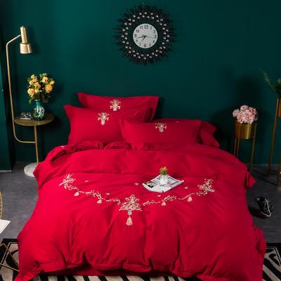 80支纯棉长绒棉磨毛精工刺绣系列 1.5m(5英尺)床 路易斯 大红