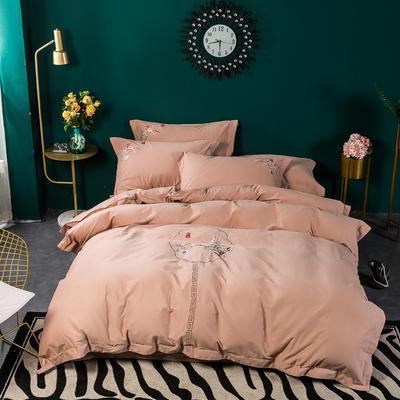 80支纯棉长绒棉磨毛精工刺绣系列 1.8m(6英尺)床 醉玲珑