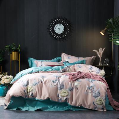 80支活性长绒棉四件套 1.5m(5英尺)床 花开叶语 粉