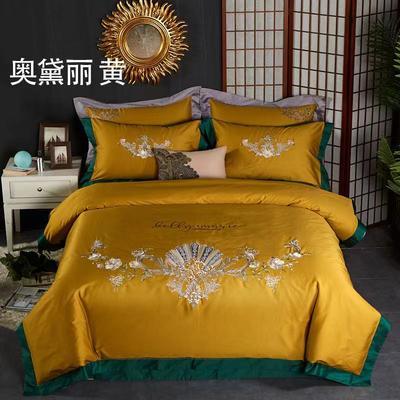 100支奢华长绒棉精品绣花四件套 1.5m床单款四件套 奥黛丽-黄