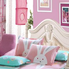 单品纯棉枕套 单人枕套48*74cm 常规一只 大白兔-粉