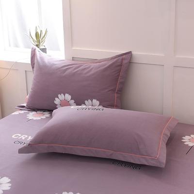 2018年新款全棉活性磨毛单品枕套款 48cmX74cm 向日葵-灰紫