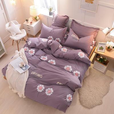2018年新款全棉活性磨毛床单款,床笠款四件套 1.2m床单款 向日葵-灰紫