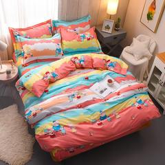 2018年新款全棉活性磨毛床单款,床笠款四件套 1.2m床单款 小猪佩琪