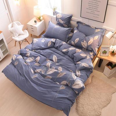2018年新款全棉活性磨毛床单款,床笠款四件套 1.2m床单款 叶影相随