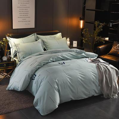 2018年新款全棉活性磨毛床单款,床笠款四件套 1.2m床单款 夜幕降临-绿