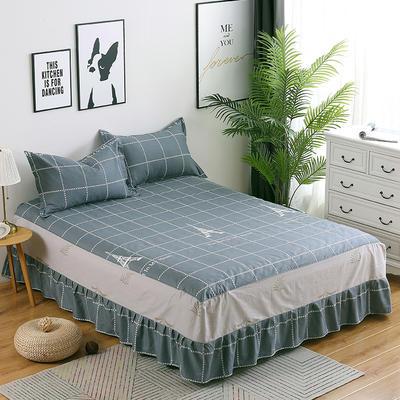 最新13070纯棉单件床罩床裙 100cmx200cm定制,可退换 埃菲尔-灰