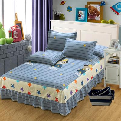 最新13070纯棉单件床罩床裙 100cmx200cm定制,可退换 布朗熊