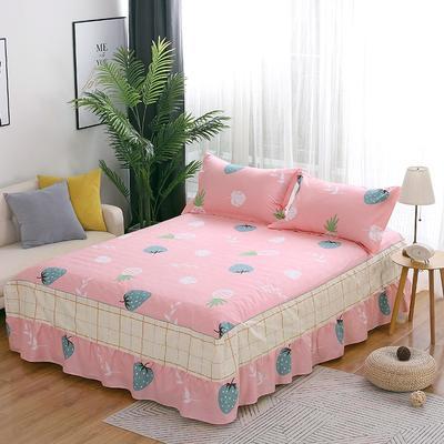 最新13070纯棉单件床罩床裙 100cmx200cm定制,可退换 清香果园-粉