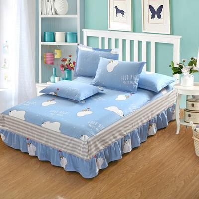 最新13070纯棉单件床罩床裙 100cmx200cm定制,可退换 威迪熊-蓝