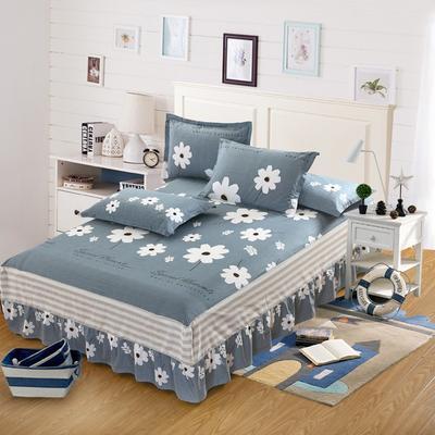 最新13070纯棉单件床罩床裙 100cmx200cm定制,可退换 温婉花语-灰