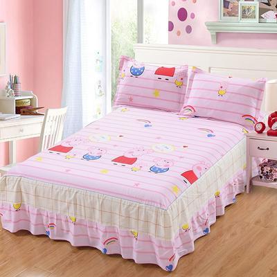 最新13070纯棉单件床罩床裙 100cmx200cm定制,可退换 我爱佩琪