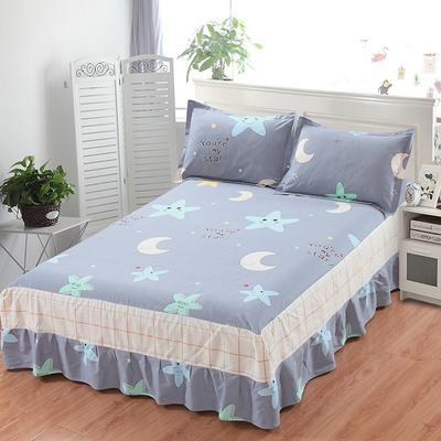 最新13070纯棉单件床罩床裙 100cmx200cm定制,可退换 星月物语