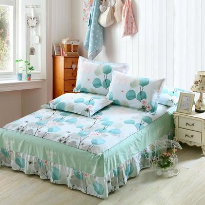 最新13070纯棉单件床罩床裙 100cmx200cm定制,可退换 月半开