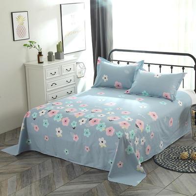 新款13070纯棉全棉单件床单 100cmx220cm 花影芬芳 蓝