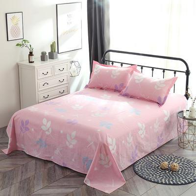 新款13070纯棉全棉单件床单 100cmx220cm 叶语浪漫 粉