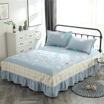 最新13070纯棉单件床罩床裙 100cmx200cm定制,可退换 花影芬芳 蓝