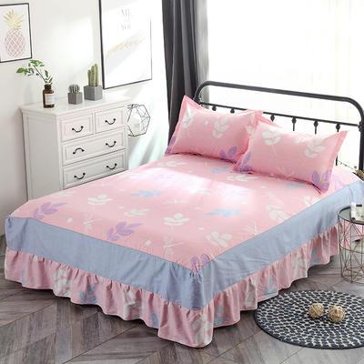 最新13070纯棉单件床罩床裙 100cmx200cm定制,可退换 叶语浪漫 粉