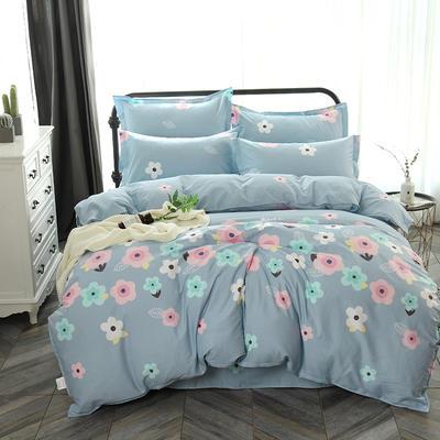 最新13070纯棉床单四件套 1.0m(3.3英尺)床 花影芬芳 蓝