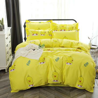 最新13070纯棉床单四件套 1.0m(3.3英尺)床 小黄鸭