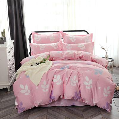 最新13070纯棉床单四件套 1.0m(3.3英尺)床 叶语浪漫 粉