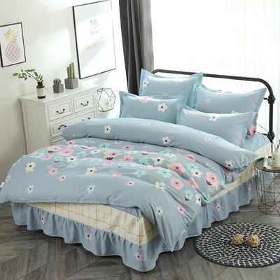 新款13070纯棉床裙四件套 1.0m(3.3英尺)床 花影芬芳 蓝