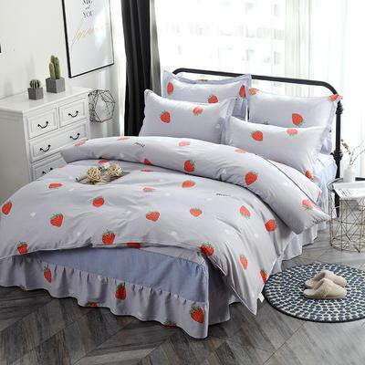新款13070纯棉床裙四件套 1.0m(3.3英尺)床 甜心草莓