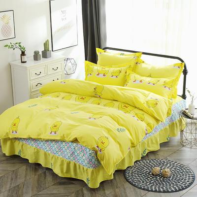 新款13070纯棉床裙四件套 1.0m(3.3英尺)床 小黄鸭