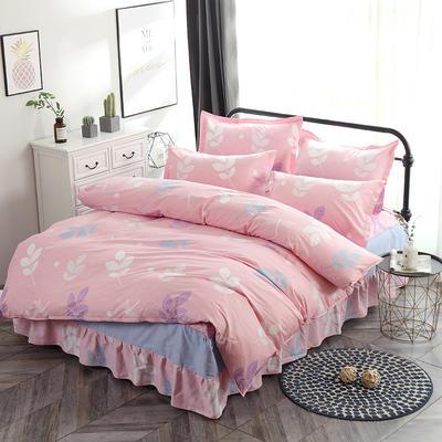 新款13070纯棉床裙四件套 1.0m(3.3英尺)床 叶语浪漫 粉