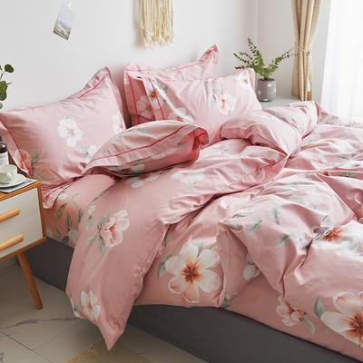 2019新款-13374全棉单件枕套48x74cm一对 48cmX74cm/一对 花开情缘-粉