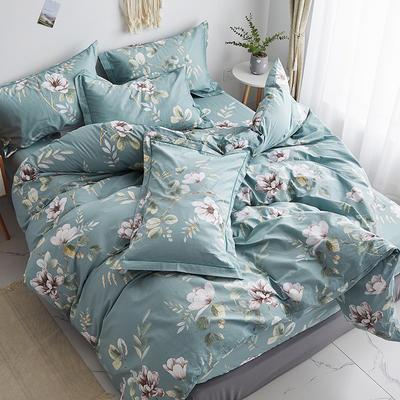 2019新款-13374全棉单件枕套48x74cm一对 48cmX74cm/一对 花墨奇缘-绿