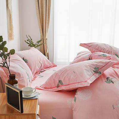 2019新款-13374全棉单件枕套48x74cm一对 48cmX74cm/一对 清雅秀丽-粉