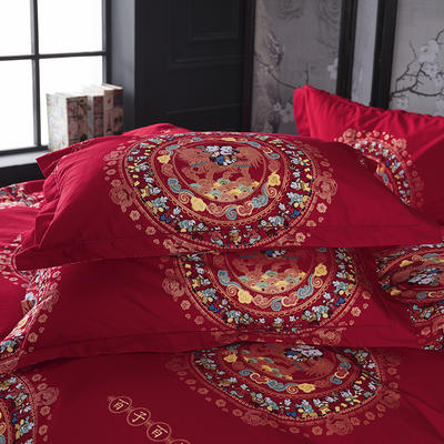 2019新款-冬季32s大红全棉活性生态磨毛单件枕套 常规48cmX74cm/对 百子同心