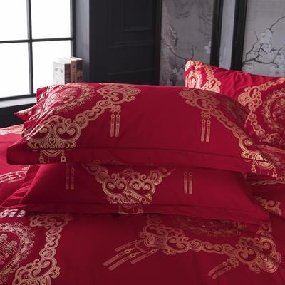 2019新款-冬季32s大红全棉活性生态磨毛单件枕套 常规48cmX74cm/对 喜临门