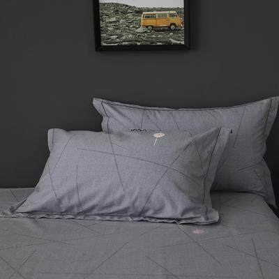 2019新款-冬季32s全棉活性生态磨毛单件枕套 常规48cmX74cm/对 风尚-灰
