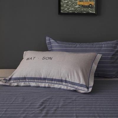 2019新款-冬季32s全棉活性生态磨毛单件枕套 常规48cmX74cm/对 简忆时光-灰