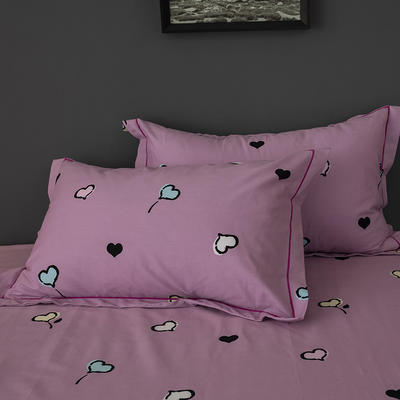 2019新款-冬季32s全棉活性生态磨毛单件枕套 常规48cmX74cm/对 守护甜心-粉