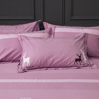 2019新款-冬季32s全棉活性生态磨毛单件枕套 常规48cmX74cm/对 小鹿森林-豆沙