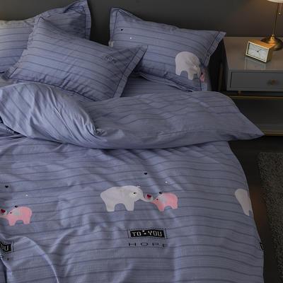 2019新款-冬季32s全棉活性生态磨毛单件枕套 常规48cmX74cm/只 小象家族-灰