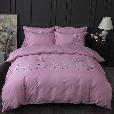 2019新款-32S全棉活性生态磨毛床单款四件套不褪色不起球不掉毛 100%棉 多尺寸规格 1.2m床单款三件套 静雅-紫