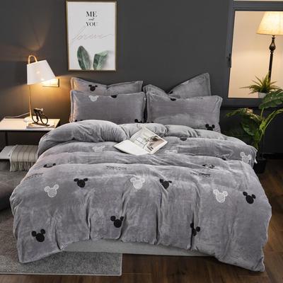 2019新款冬季加厚牛奶绒床单款四件套 1.0m-1.35m床单款三件套 经典米奇