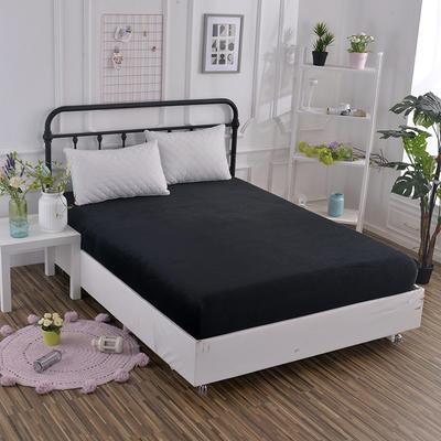2019新款冬季水晶绒纯色单件床笠 枕套48x74cm/只 黑色