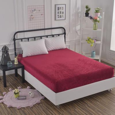 2019新款冬季水晶绒纯色单件床笠 枕套48x74cm/只 酒红