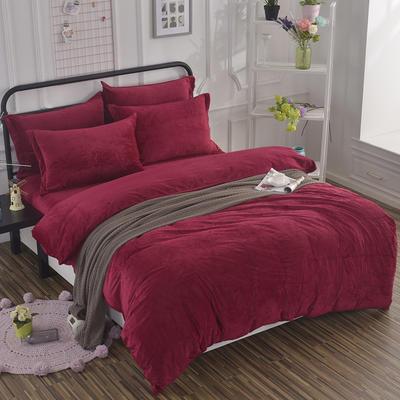 2019新款冬季水晶绒纯色床单款四件套 1.0m-1.35m床单款三件套 酒红