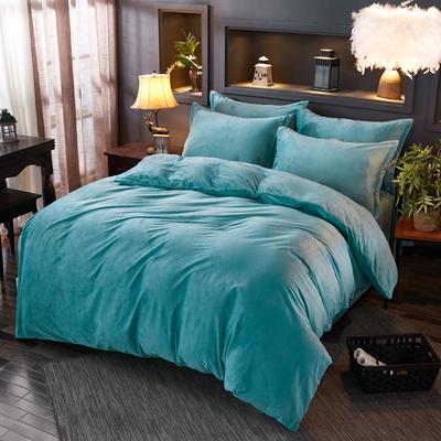 2019新款冬季水晶绒纯色床单款四件套 1.0m-1.35m床单款三件套 墨绿