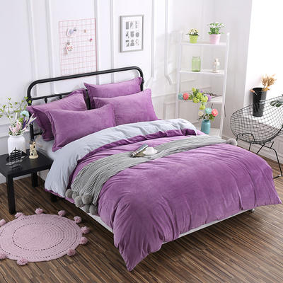 2019新款冬季水晶绒纯色床单款四件套 1.0m-1.35m床单款三件套 紫+灰